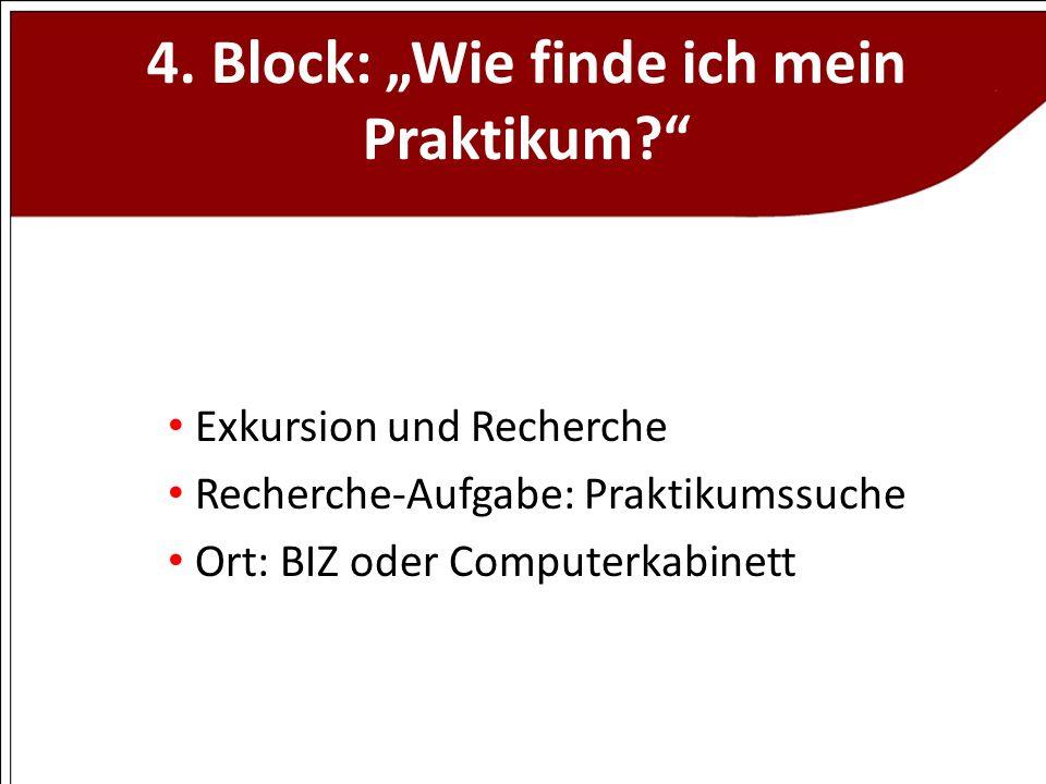 """4. Block: """"Wie finde ich mein Praktikum"""