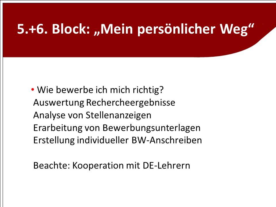 """5.+6. Block: """"Mein persönlicher Weg"""