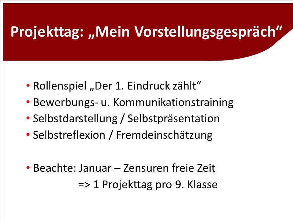 """Projekttag: """"Mein Vorstellungsgespräch"""
