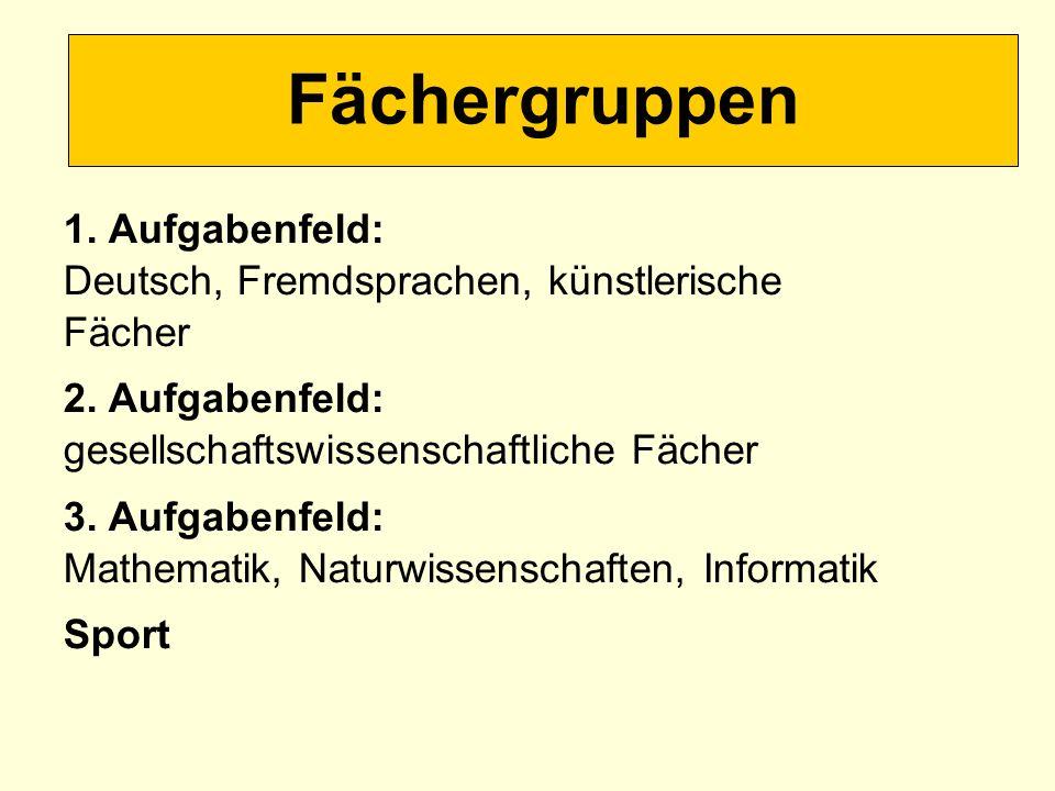 Fächergruppen 1. Aufgabenfeld: Deutsch, Fremdsprachen, künstlerische