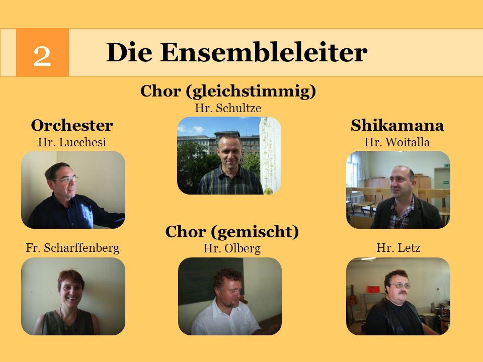 2 Die Ensembleleiter Chor (gleichstimmig) Orchester Shikamana