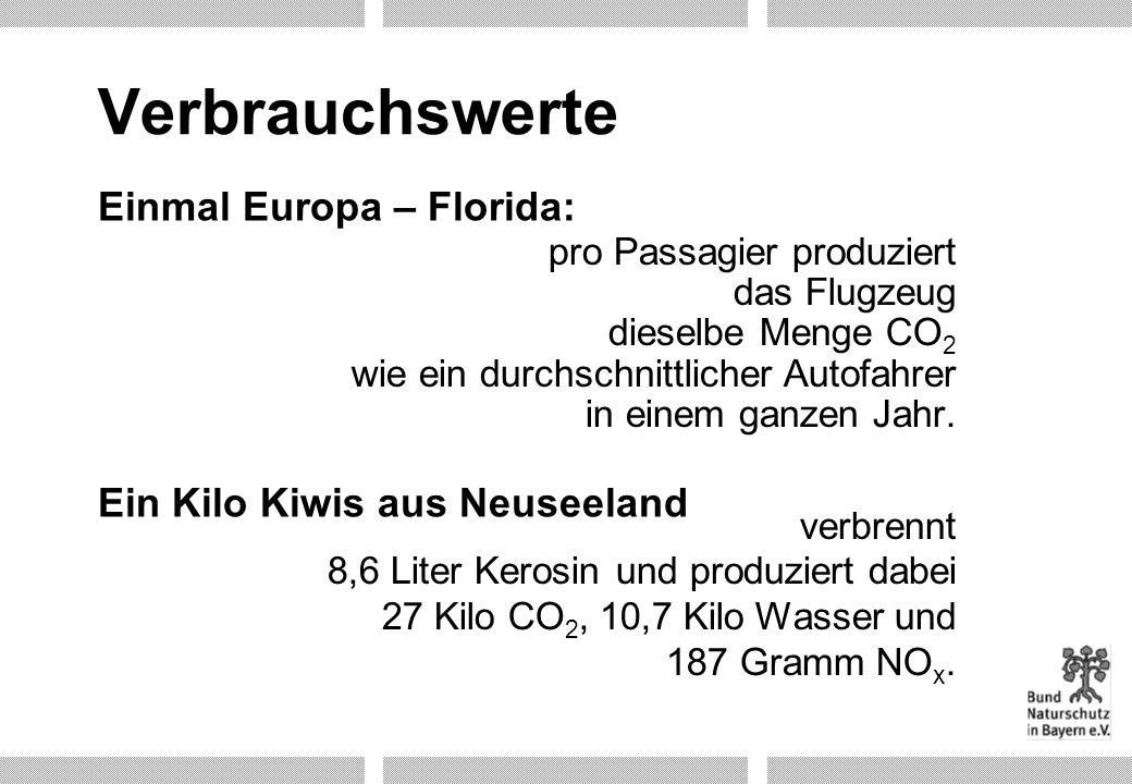 Verbrauchswerte Einmal Europa – Florida: Ein Kilo Kiwis aus Neuseeland