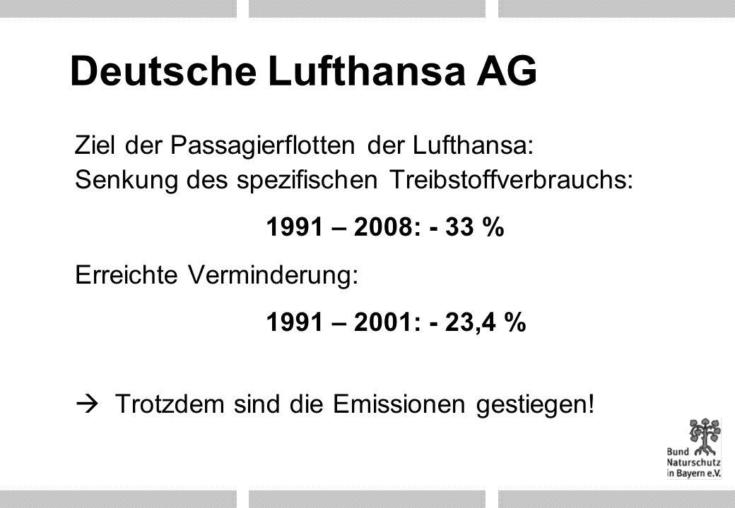 Deutsche Lufthansa AG Ziel der Passagierflotten der Lufthansa: Senkung des spezifischen Treibstoffverbrauchs:
