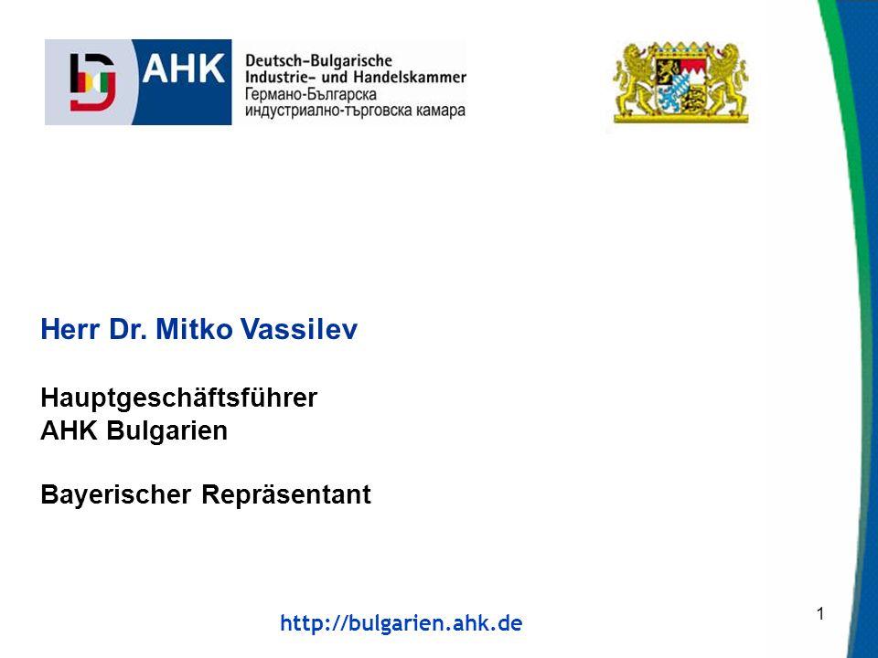 Herr Dr. Mitko Vassilev Hauptgeschäftsführer AHK Bulgarien