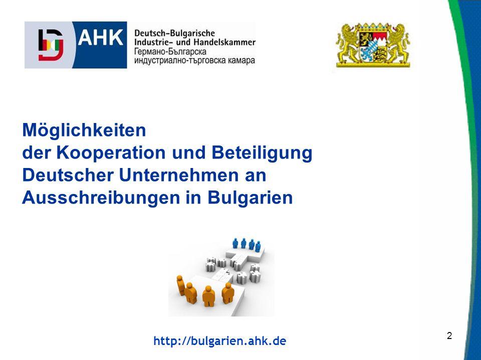 Möglichkeiten der Kooperation und Beteiligung Deutscher Unternehmen an Ausschreibungen in Bulgarien.