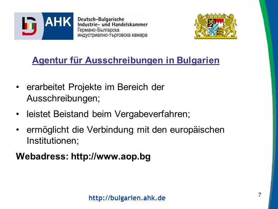 Agentur für Ausschreibungen in Bulgarien
