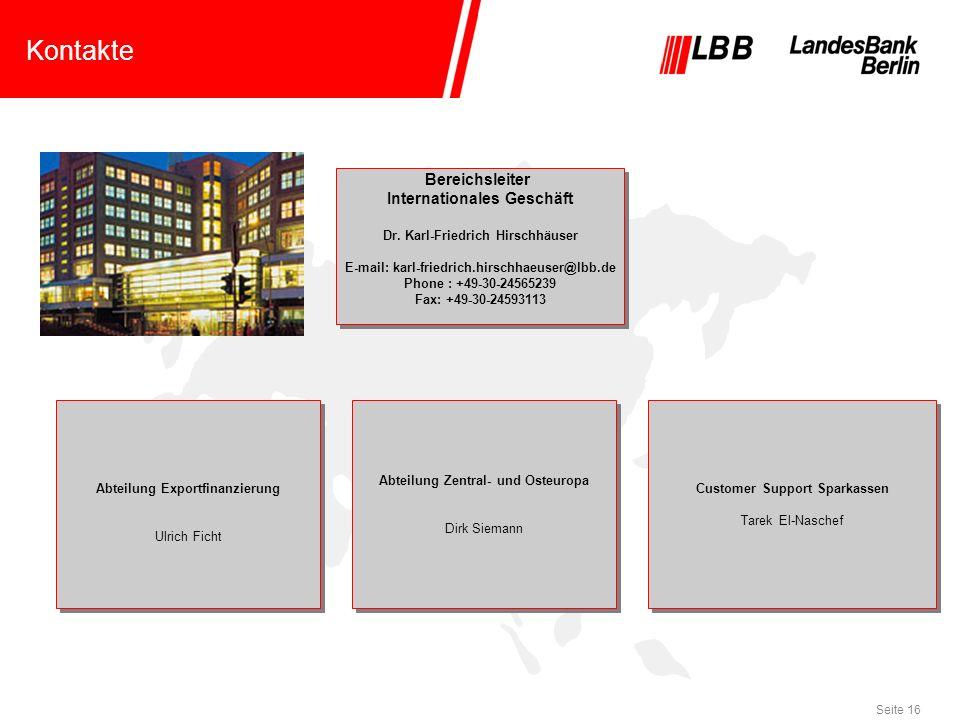 Kontakte Bereichsleiter Internationales Geschäft