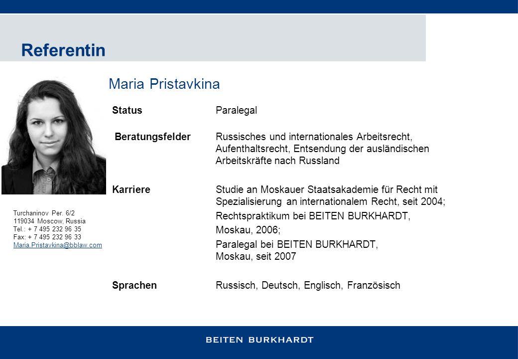 Referentin Maria Pristavkina Status Paralegal