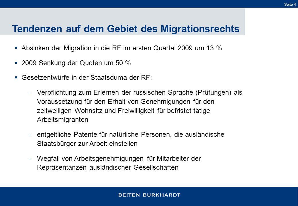 Tendenzen auf dem Gebiet des Migrationsrechts