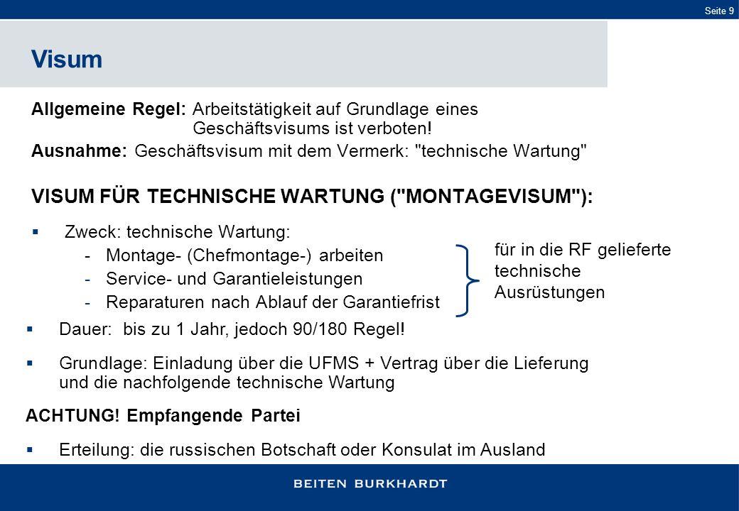 Visum VISUM FÜR TECHNISCHE WARTUNG ( MONTAGEVISUM ):
