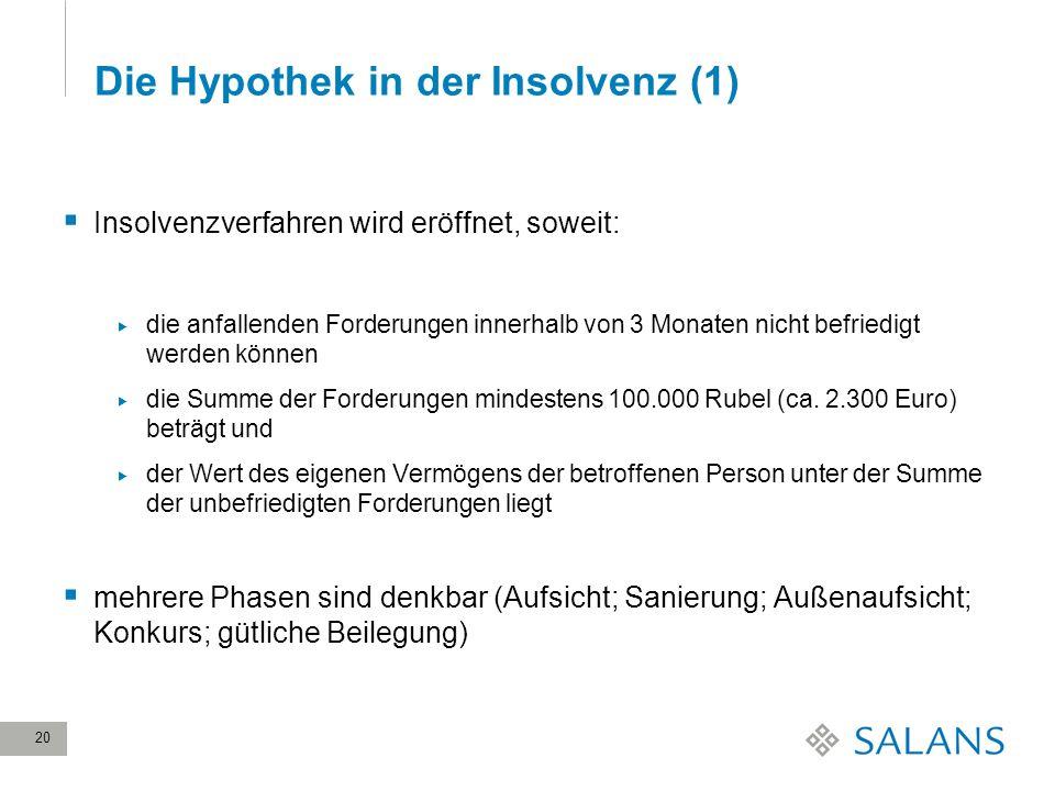 Die Hypothek in der Insolvenz (1)