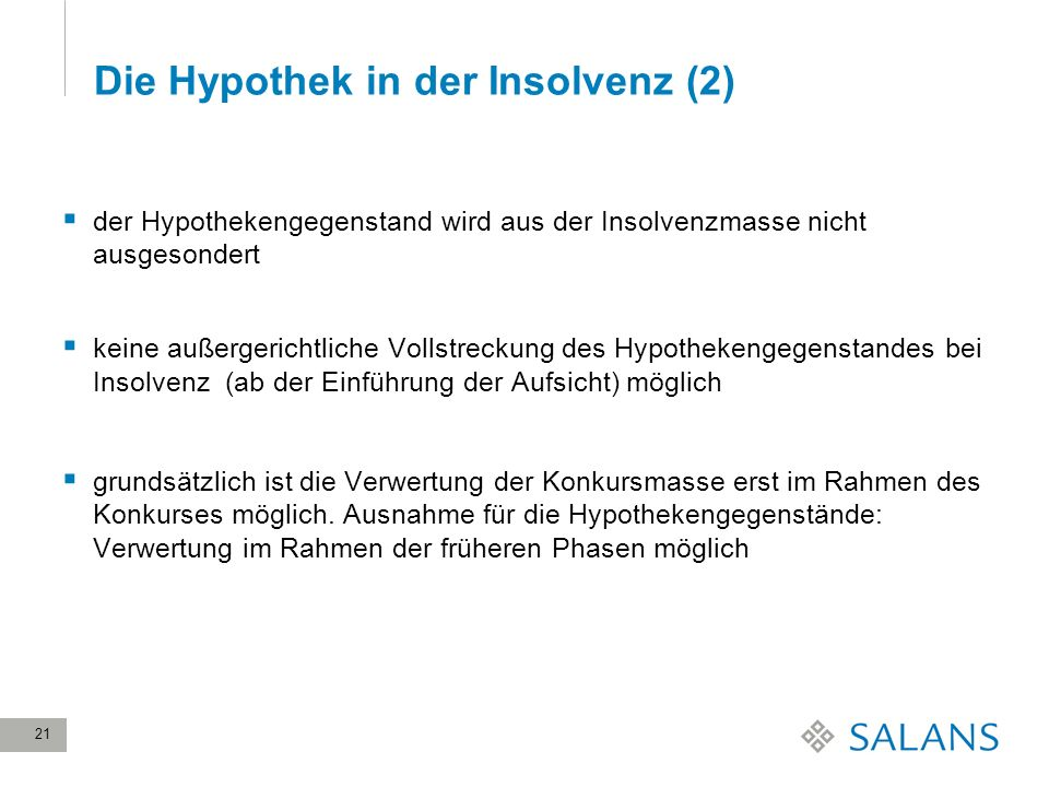 Die Hypothek in der Insolvenz (2)