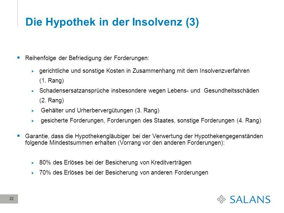 Die Hypothek in der Insolvenz (3)