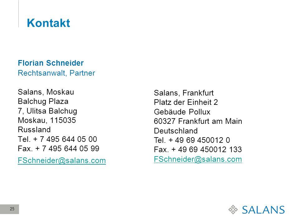 Kontakt Florian Schneider Rechtsanwalt, Partner Salans, Moskau