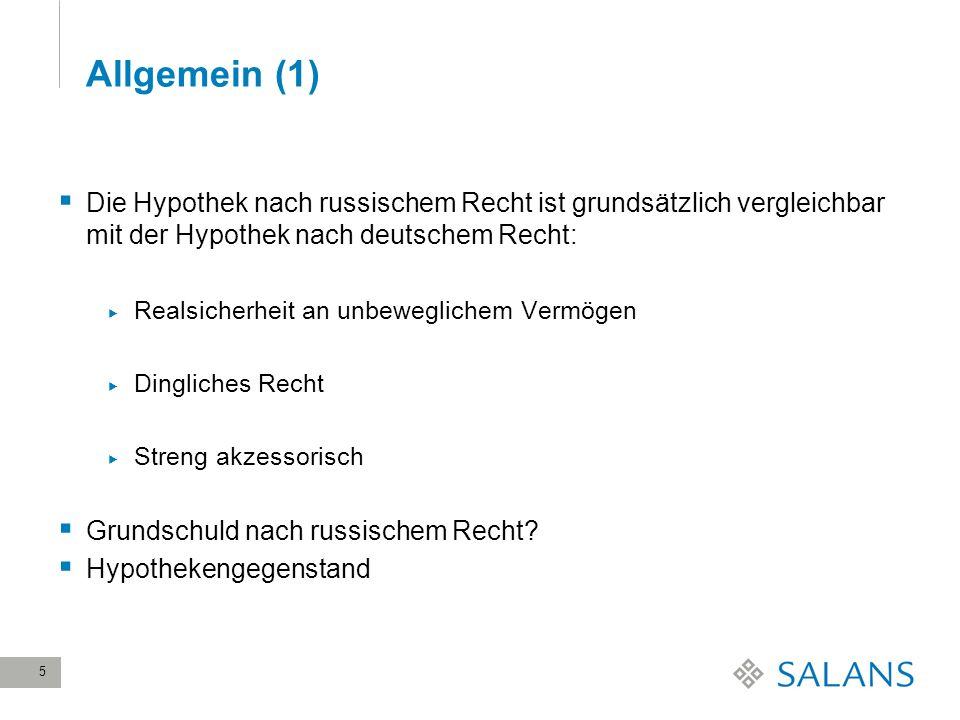 28 March, 2017Allgemein (1) Die Hypothek nach russischem Recht ist grundsätzlich vergleichbar mit der Hypothek nach deutschem Recht: