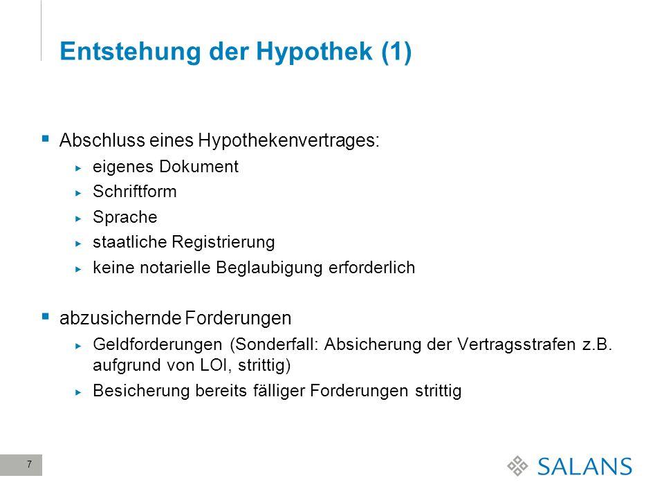 Entstehung der Hypothek (1)