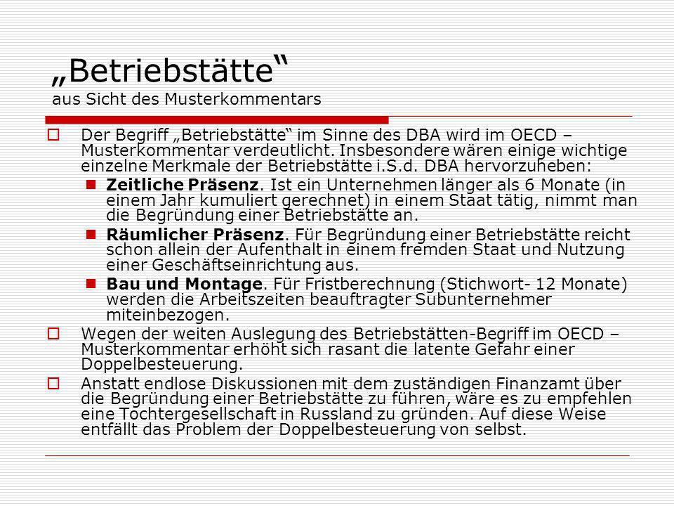 """""""Betriebstätte aus Sicht des Musterkommentars"""