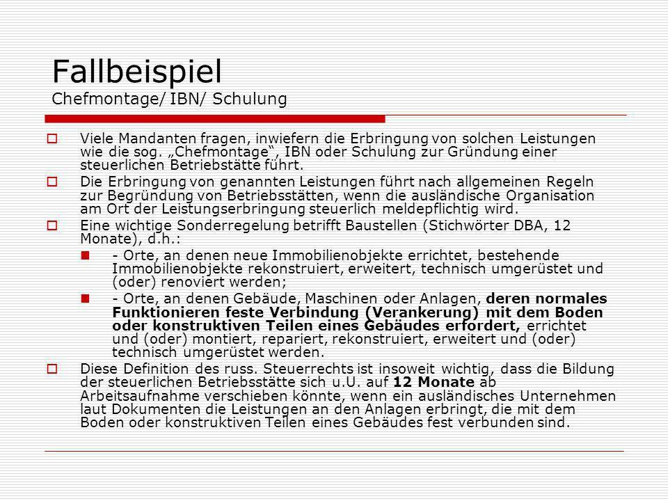 Fallbeispiel Chefmontage/ IBN/ Schulung