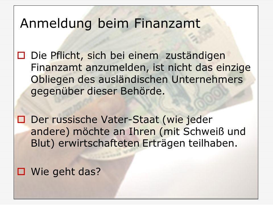 Anmeldung beim Finanzamt
