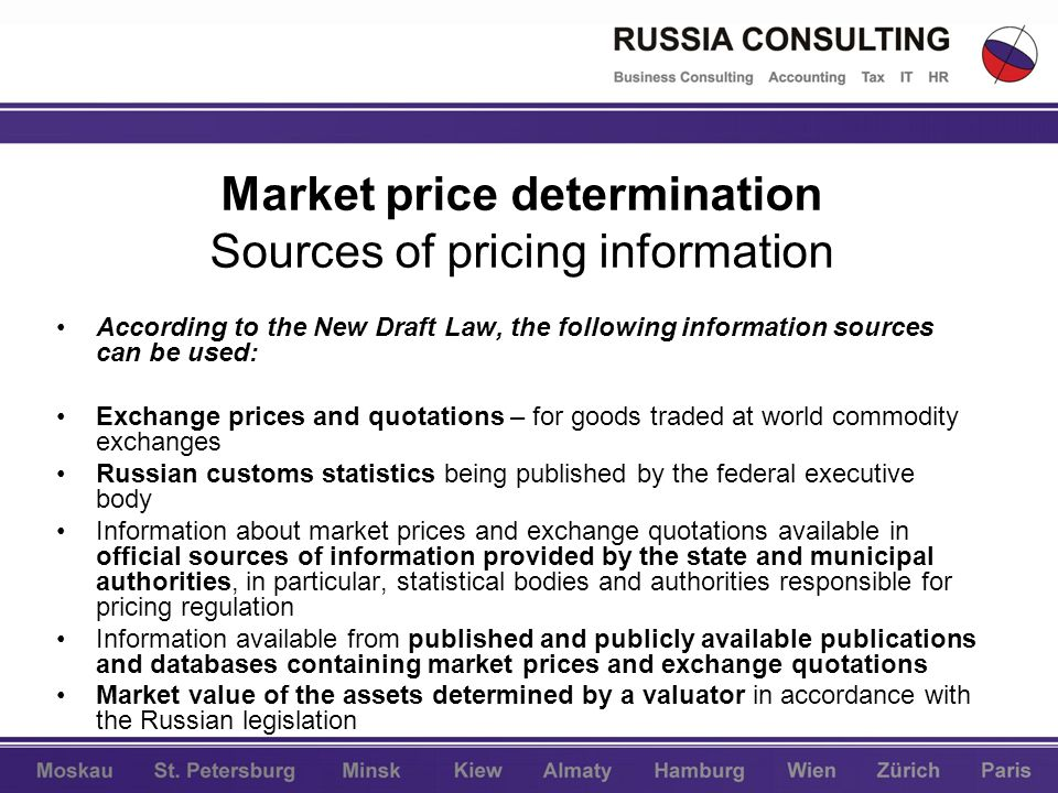 Market price determination Sources of pricing information