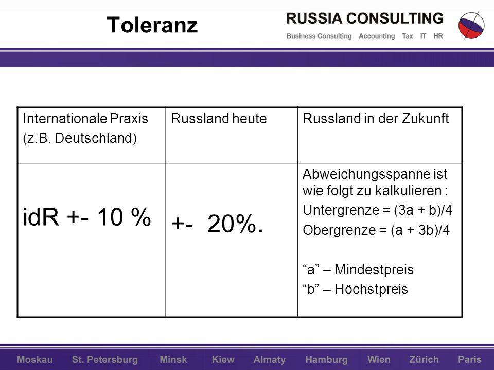 idR +- 10 % +- 20%. Toleranz Internationale Praxis (z.B. Deutschland)