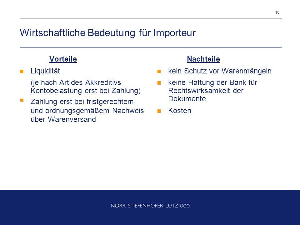 Wirtschaftliche Bedeutung für Importeur