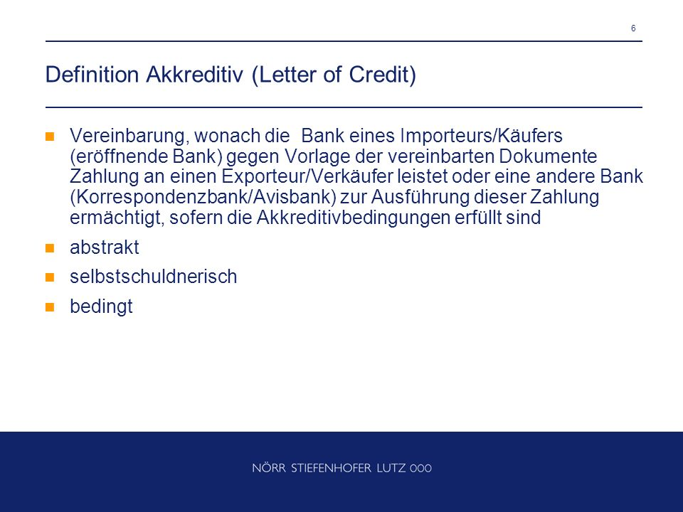 Definition Akkreditiv (Letter of Credit)