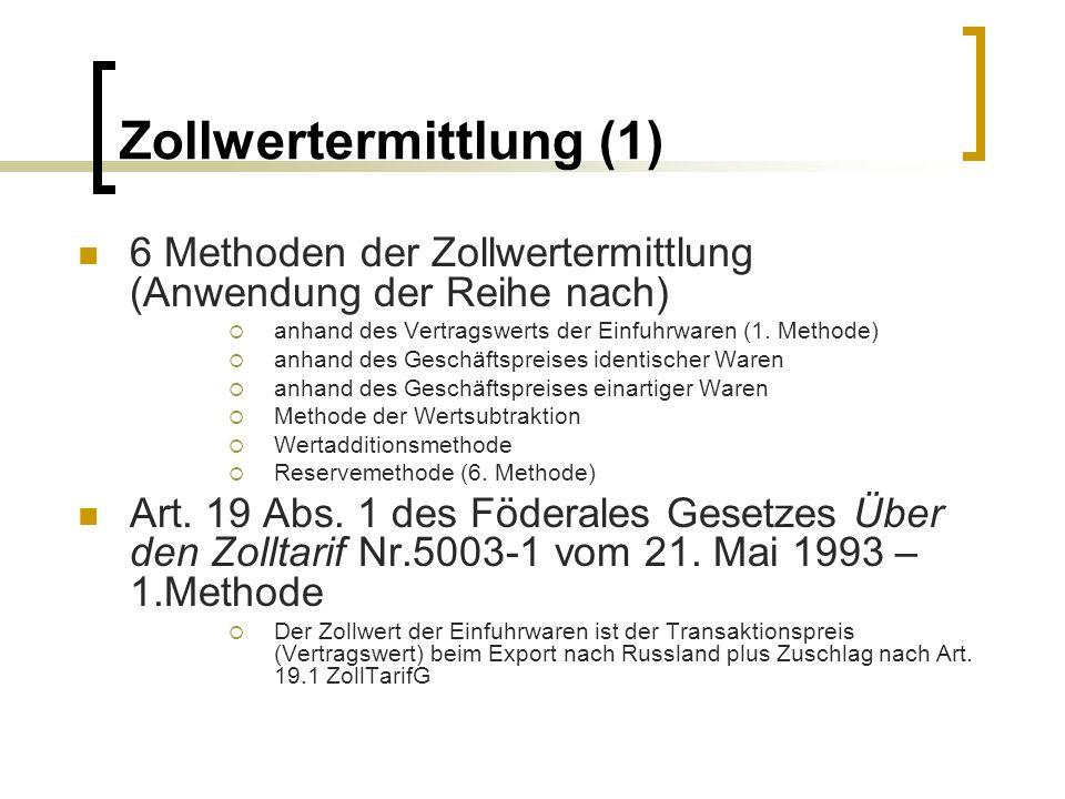 Zollwertermittlung (1)