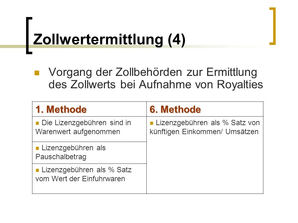 Zollwertermittlung (4)