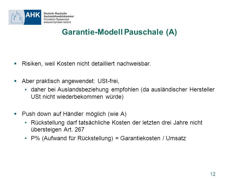 Garantie-Modell Pauschale (A)