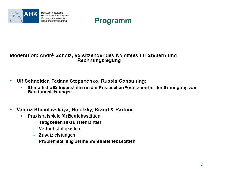 Programm Moderation: André Scholz, Vorsitzender des Komitees für Steuern und Rechnungslegung.