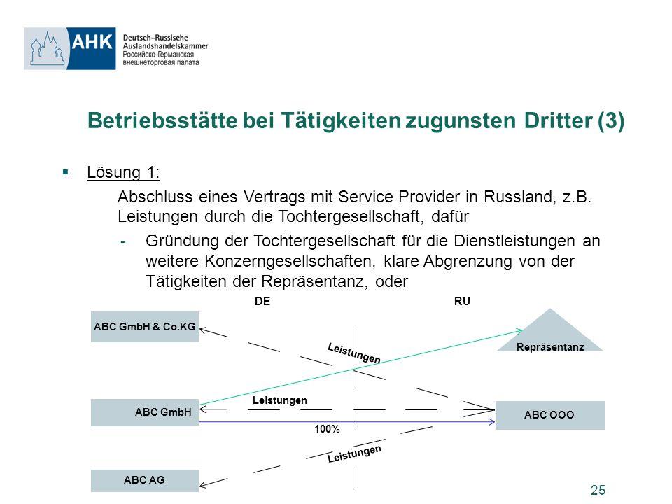 Betriebsstätte bei Tätigkeiten zugunsten Dritter (3)