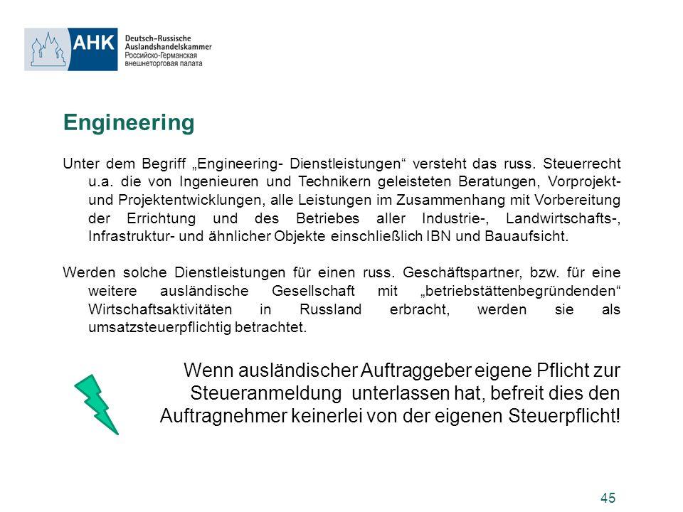 Engineering Wenn ausländischer Auftraggeber eigene Pflicht zur