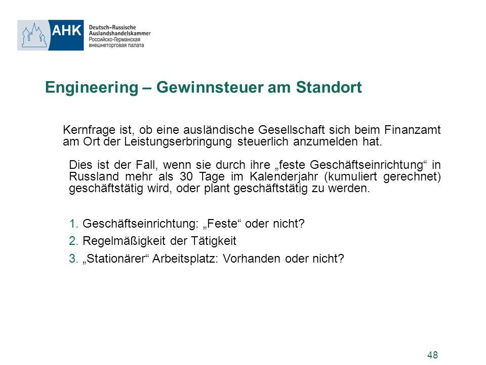 Engineering – Gewinnsteuer am Standort