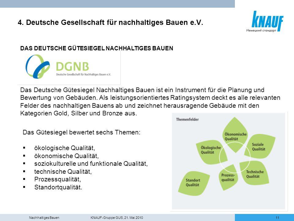 4. Deutsche Gesellschaft für nachhaltiges Bauen e.V.