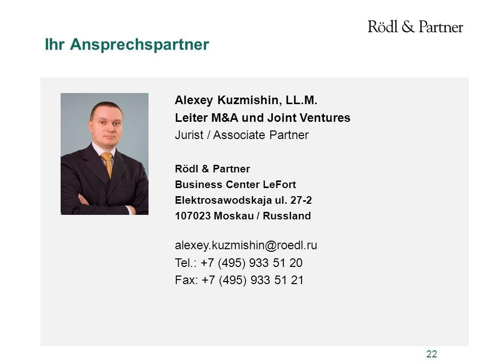 Ihr Ansprechspartner Alexey Kuzmishin, LL.M.