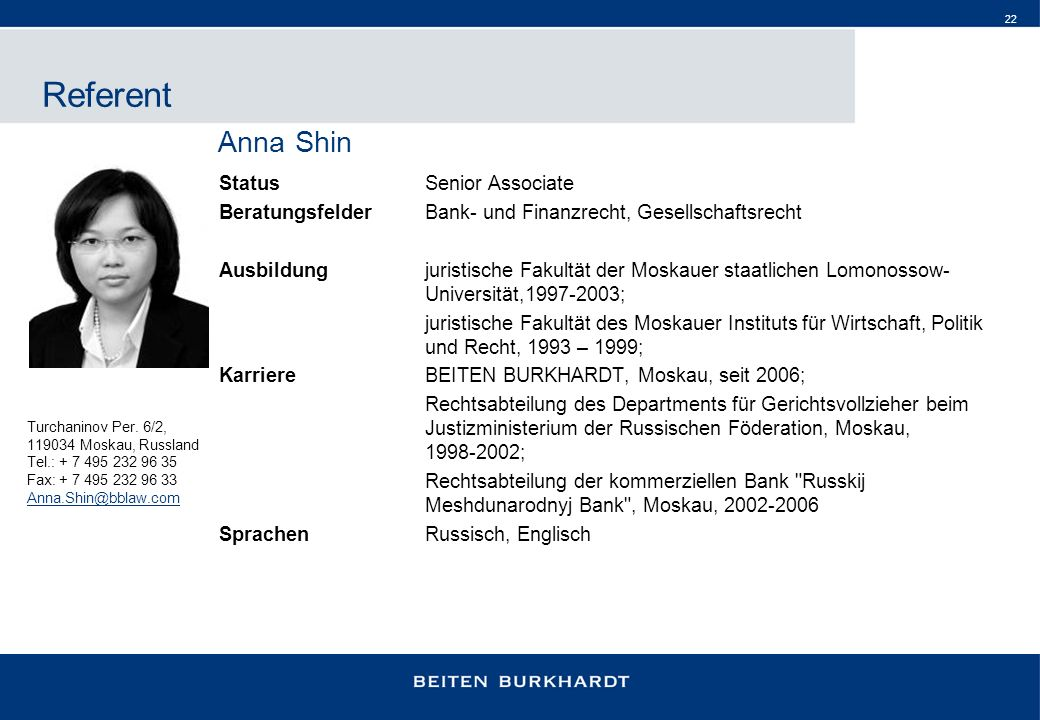 Referent Anna Shin Status Senior Associate