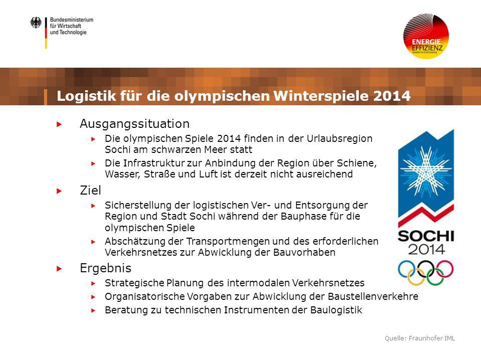Logistik für die olympischen Winterspiele 2014