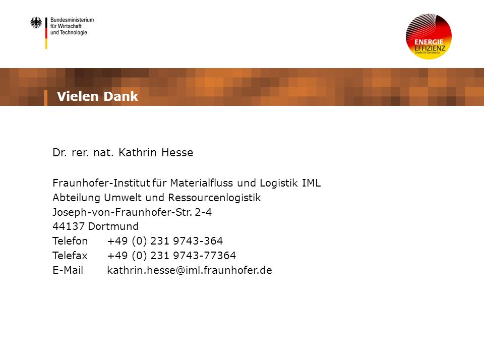 Vielen Dank Dr. rer. nat. Kathrin Hesse