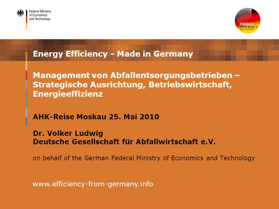 Management von Abfallentsorgungsbetrieben – Strategische Ausrichtung, Betriebswirtschaft, Energieeffizienz