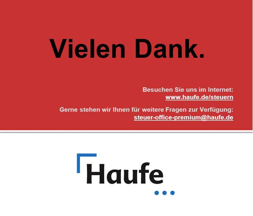 Vielen Dank. Besuchen Sie uns im Internet: www.haufe.de/steuern