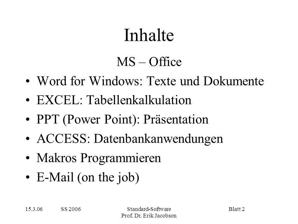 Inhalte MS – Office Word for Windows: Texte und Dokumente