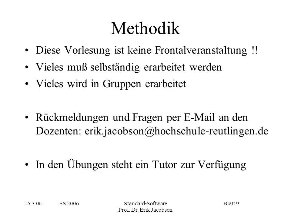 Methodik Diese Vorlesung ist keine Frontalveranstaltung !!