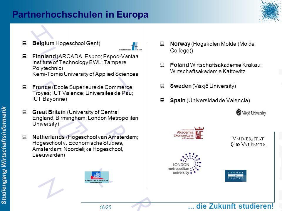 Partnerhochschulen in Europa