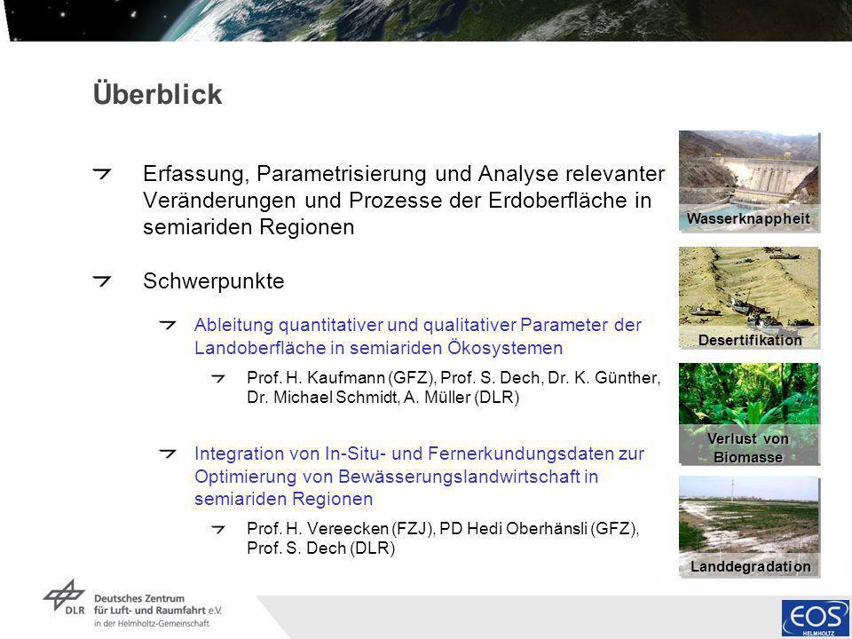 Überblick Erfassung, Parametrisierung und Analyse relevanter Veränderungen und Prozesse der Erdoberfläche in semiariden Regionen.