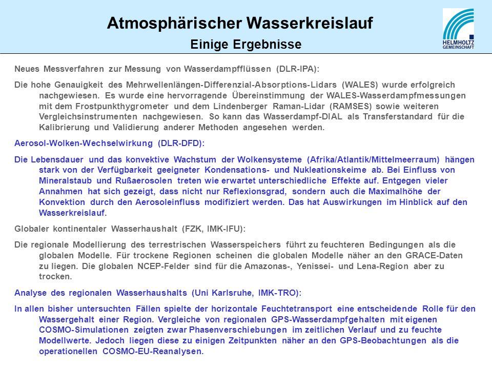 Einige ErgebnisseNeues Messverfahren zur Messung von Wasserdampfflüssen (DLR-IPA):