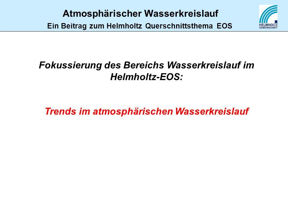 Fokussierung des Bereichs Wasserkreislauf im Helmholtz-EOS: