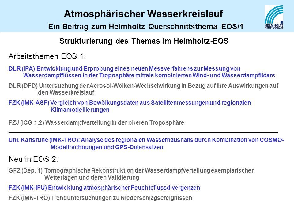 Ein Beitrag zum Helmholtz Querschnittsthema EOS/1