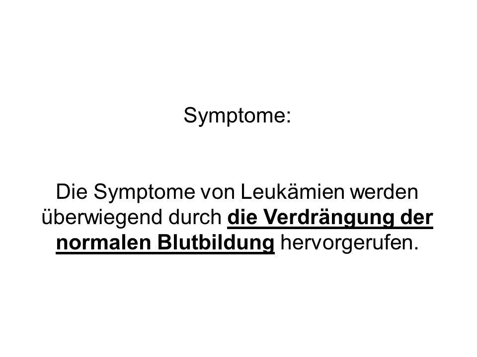 Symptome:Die Symptome von Leukämien werden überwiegend durch die Verdrängung der normalen Blutbildung hervorgerufen.