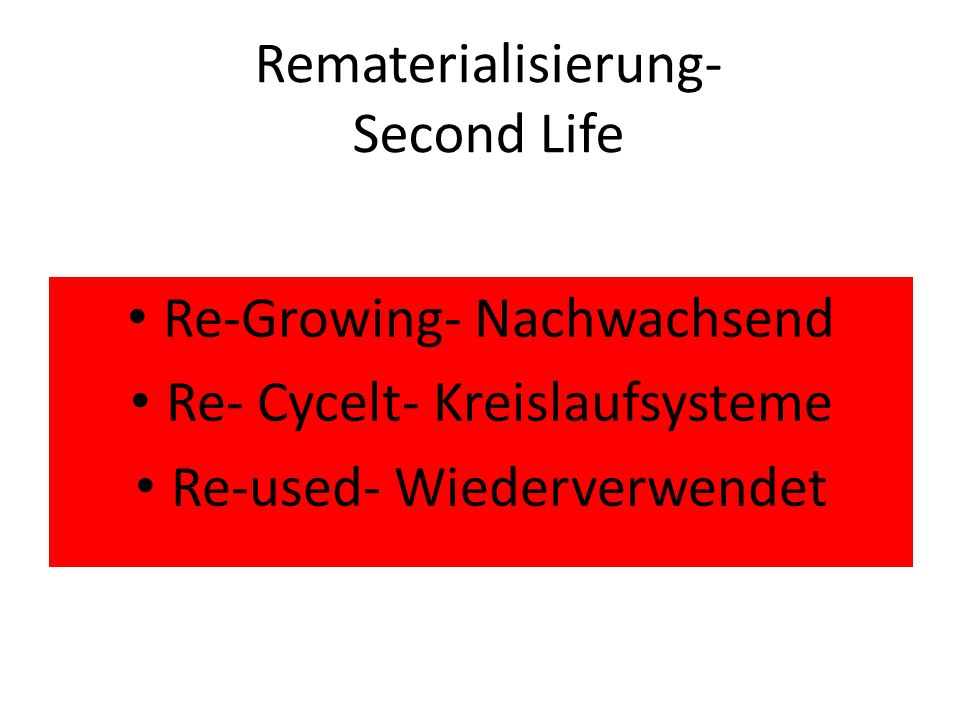 Rematerialisierung- Second Life